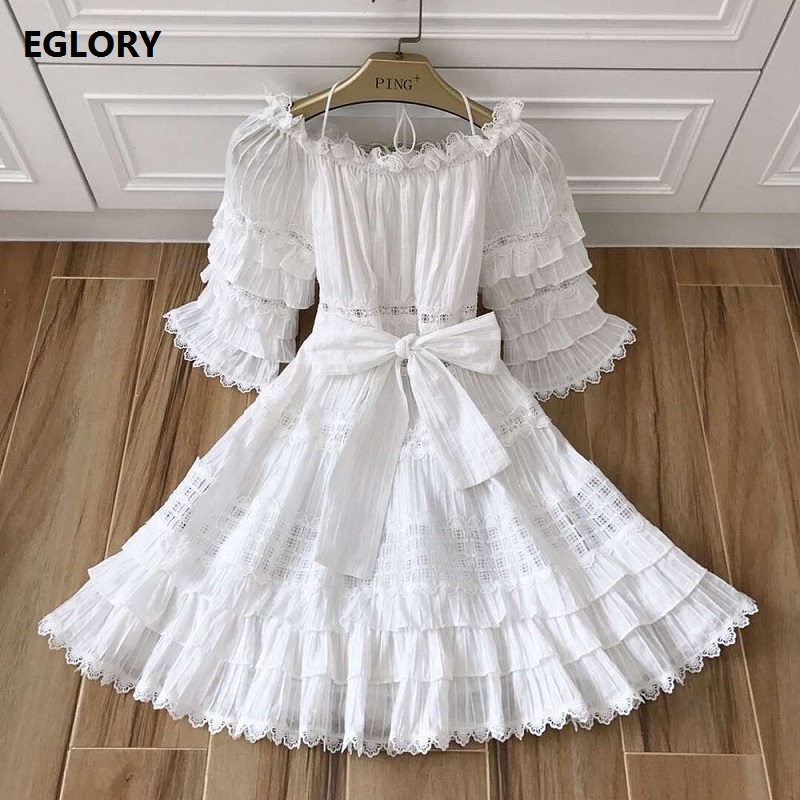 Sexy Off the Shoulder Dress New 2018 Summer Fashion Top Quality Woman Hollow Out Lace Half Sleeve Big Swing Party Noble Dress