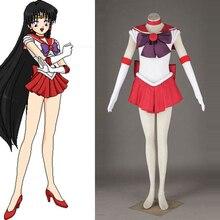Горячая Продажа! аниме сейлор мун рей хино (сейлор марс) косплей хэллоуин костюм bishoujo senshi dress нестандартного размера бесплатная доставка