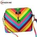 Da praia do verão Famosa marca exquisite moda PU mulheres de couro bolsa 2017 Rainbow shell saco rebite senhoras ombro saco L4-810