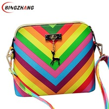 summer beach Famous brand exquisite fashion PU leather women handbag 2017 Rainbow shell bag rivet ladies