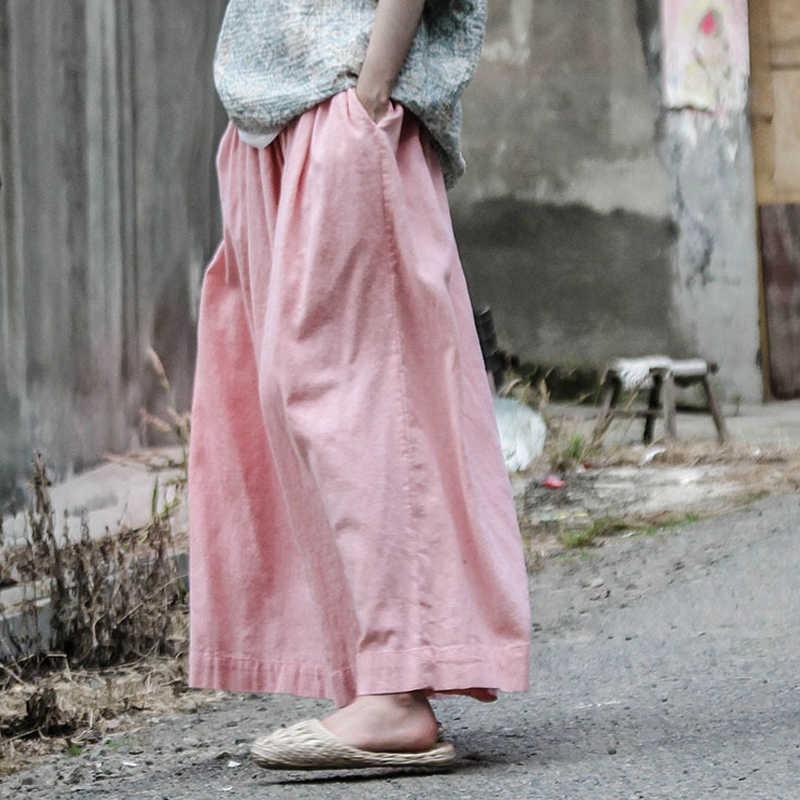 Johnature Women Wide Leg Pants Casual Elastic Waist Original 2019 Fall New Casual Trouser Loose Pink Cotton Linen Vintage Pants