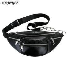 купить Unisex Chest Waist Bag Men Women Messenger Bags Zipper PU Leather Soft Pack Tote Waist Packs Fashion Fanny bag Bolsas Feminina дешево