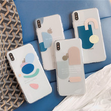 Case phone with letters phone case for iphone 6 6s 7 8 plus Xs max Xr Xs X Artistic geometry clear soft TPU back cover i10 coque цена 2017