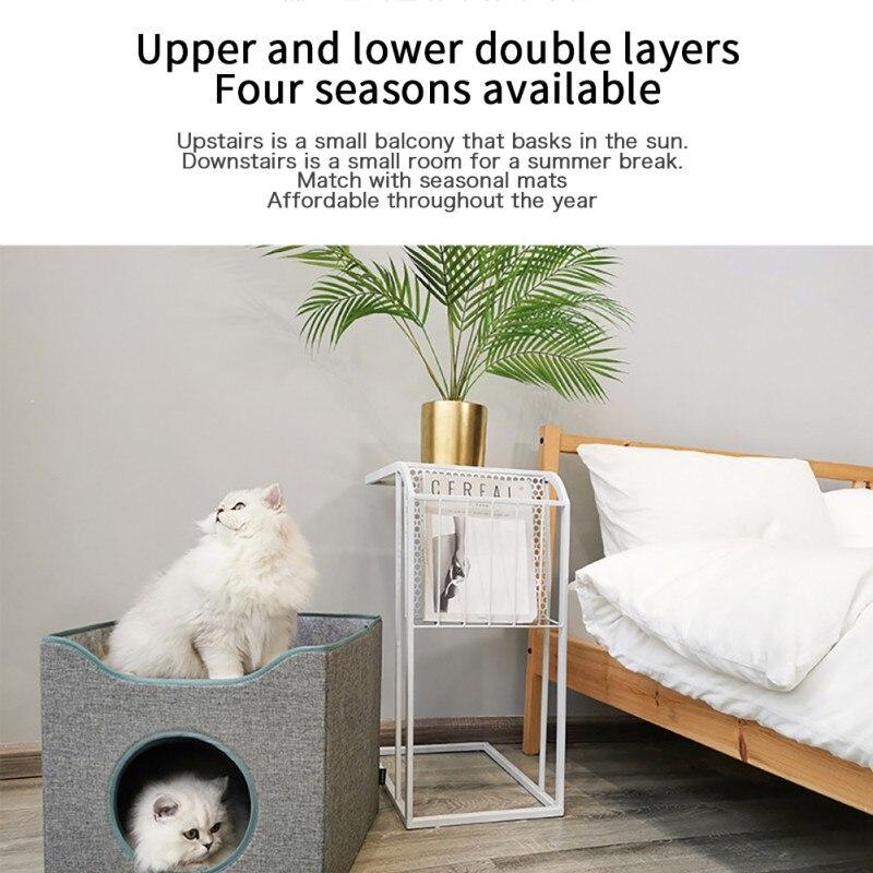 Animaux de compagnie chat lits tapis concis respirant chat maison pliable fermé chat maison pour petits chiens chats tapis maison produit