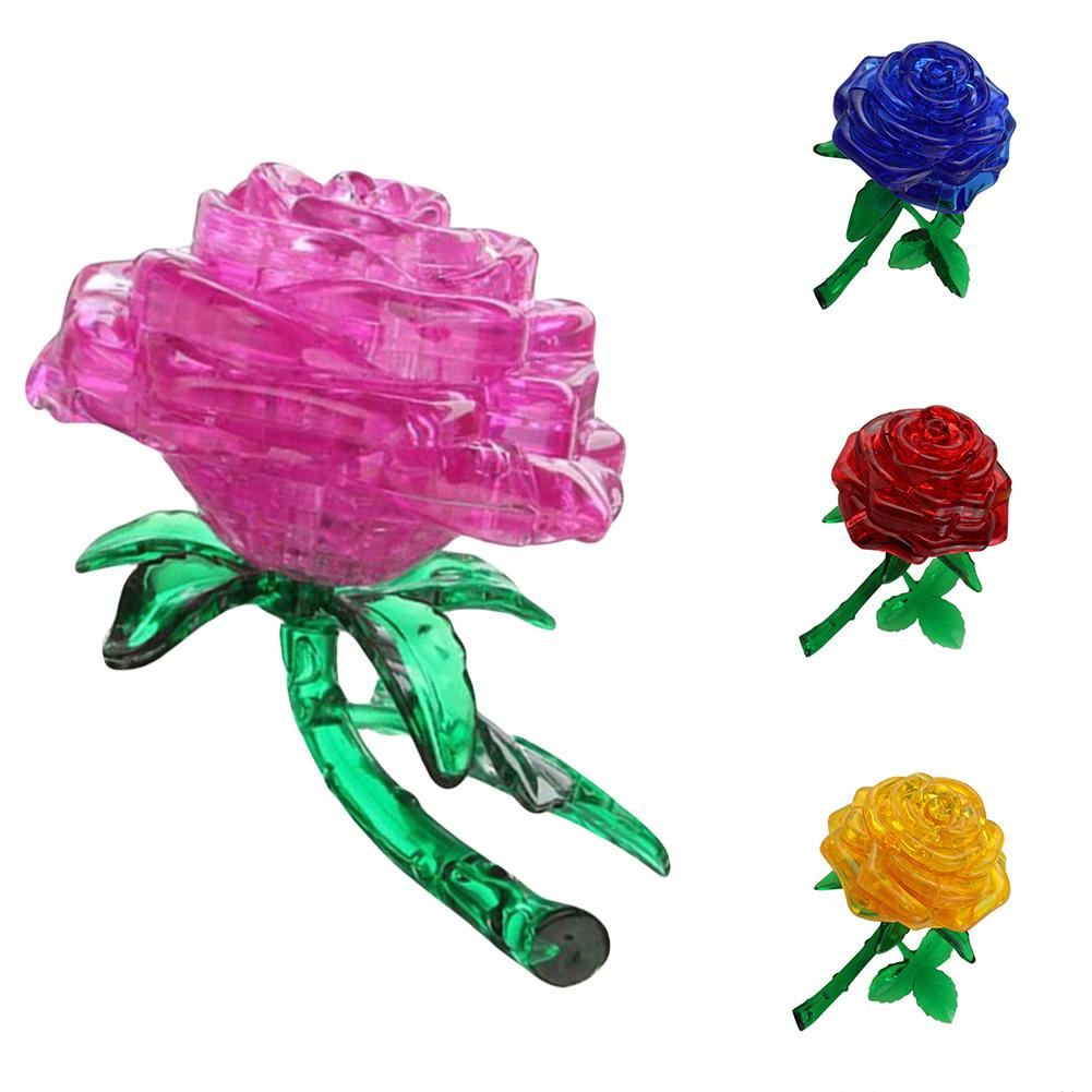 New Lovely 3d Rose Flower Crystal Diy Puzzle Jigsaw Gift Gadget Children Iq Toy Utmost In Convenience Toys & Hobbies