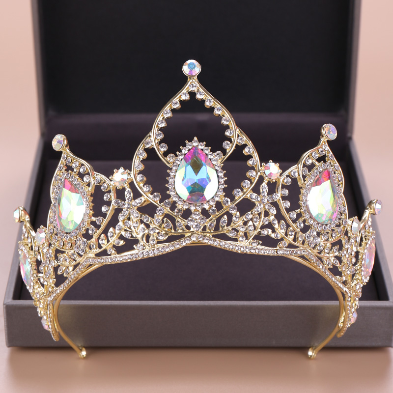 Vintage Colorful Crystal Crown Gold Rhinestone Diadem Tiaras For Women Bride Queen Hair Accessories Wedding Hair Jewelry Pageant