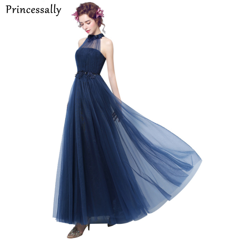 036d5df2f1 Robe De Soiree Sexy Halter Appliques Beading Sleeveless Long Evening Dress  Navy Blue Custom Bride Banquet