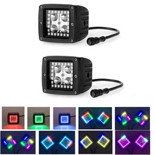 Nicoko 12 W 3x3in LED travail Lumière avec Chaser RGB Halo 72 modes pour Tracteur Camion 4×4 SUV ATV Moto phare brouillard lampe pack 2