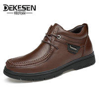 DEKESEN New Mens Genuine Leather Shoes 2017 Fashion High Top Winter Shoes Lace Up Ankle Boots