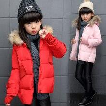 Детская одежда девушка зимняя куртка хлопок проложенный дети верхняя одежда пальто с капюшоном теплая вниз куртки девушки вниз и парки
