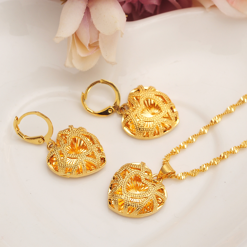 Bangrui Heart Pendant and Necklaces Earring Romantic Jewelry S Gold Color for Womens,Wedding gift,Girlfriend Wife Gifts