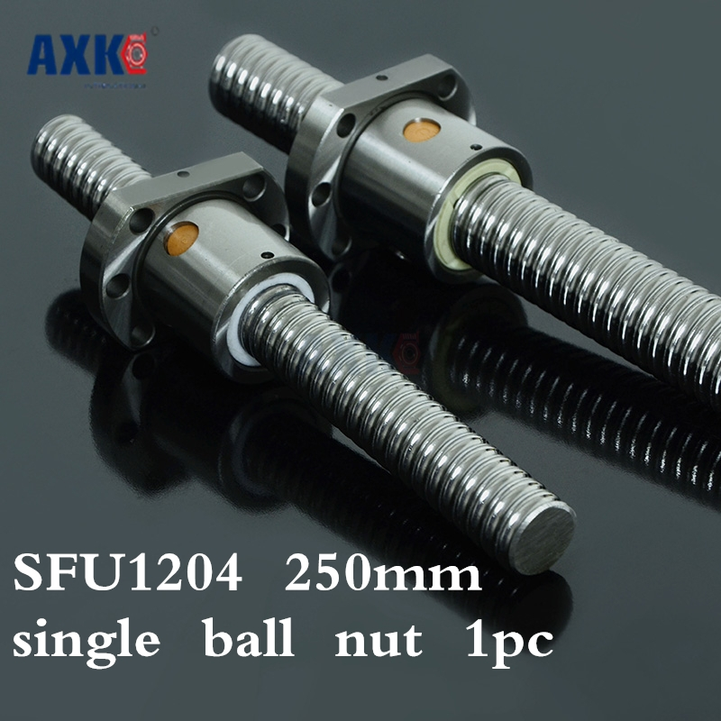 Axk 12mm 1204 Ball Screw Rolled C7 Ballscrew Sfu1204 250mm With One 1204 Flange Single Ball Nut For Cnc Parts No Ends axk 12mm 1204 ball screw rolled c7 ballscrew sfu1204 250mm with one 1204 flange single ball nut for cnc parts no ends