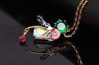 France Les Nereides Enamel Glaze Copper Pleated Trendy Beautiful Dragonfly Gem Women Necklaces