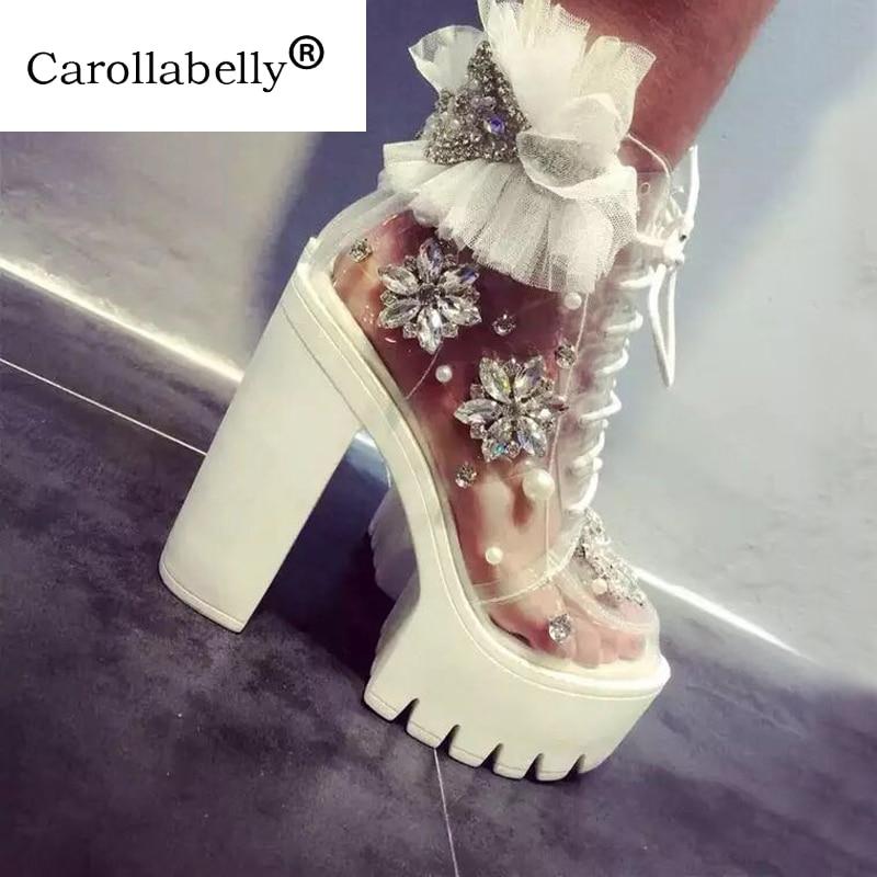 Carollabelly à la main talons épais plate-forme femmes automne bottes transparentes bottines femmes à lacets strass dentelle fleur bottes