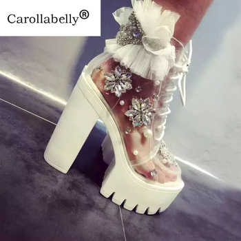 Carollabelly Handmade Thick Heels Platform Women Autumn Boots Transparent Ankle Boots Women Lace Up Rhinestone Lace Flower Boots - Category 🛒 Shoes