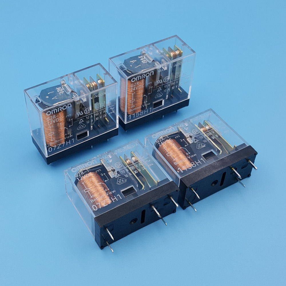 10Pcs Omron G2R 1 DC12V/24V PCB Mount 5Pin SPDT Power Relay 10A/250VAC-in Relays from Home Improvement