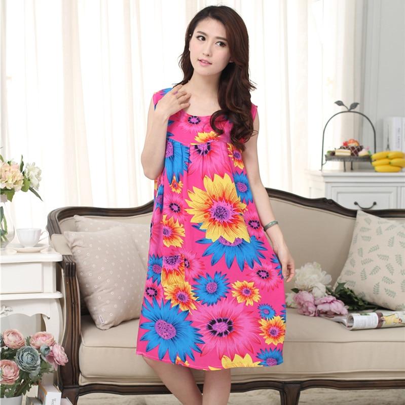Image 5 - Women Plus Size L  XXXL Floral Sleep Shirt Dress Nightgown Women Cotton Nightdress Nightshirt Ladies Nightwear Pijama Sleepwear    -