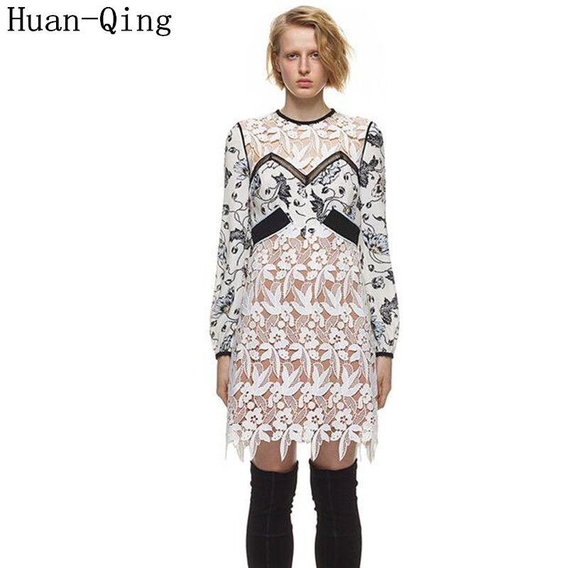 High Quality Self Portrait Dress Runway Women Sexy Lace Embroidery Hollow Out Party Dresses Summer Print