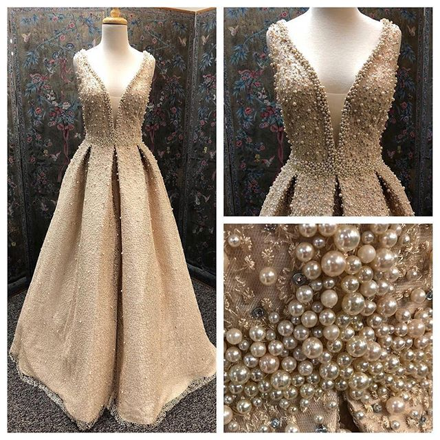 Bling Bling New Long   Evening     Dress   2018 V-Neck Sleeveless A-Line Pearls Full Covered Floor Length Formal   Dresses   Vestidos