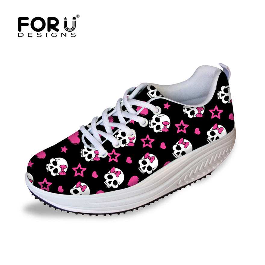 FORUDESIGNS 2017 Fashion Skull Printed Women Casual Platform Shoes High Quality Slimming Swing Shoes for Ladies Female Shape Ups велосипед haro team cf expert xl 2016
