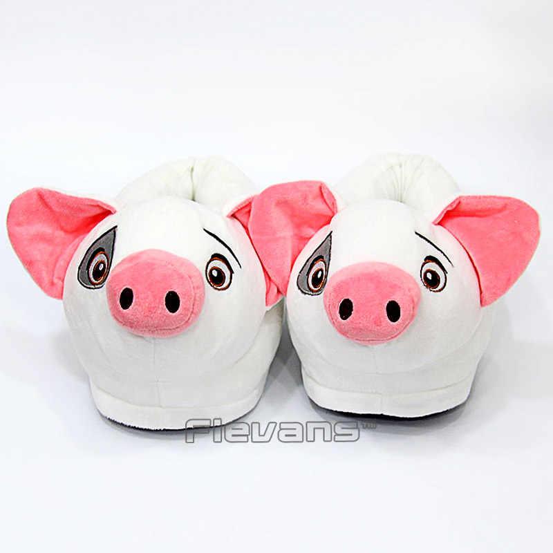 Моана Поросенок Пуа плюшевые зимние комнатные тапочки обувь мягкая игрушка кукла животных