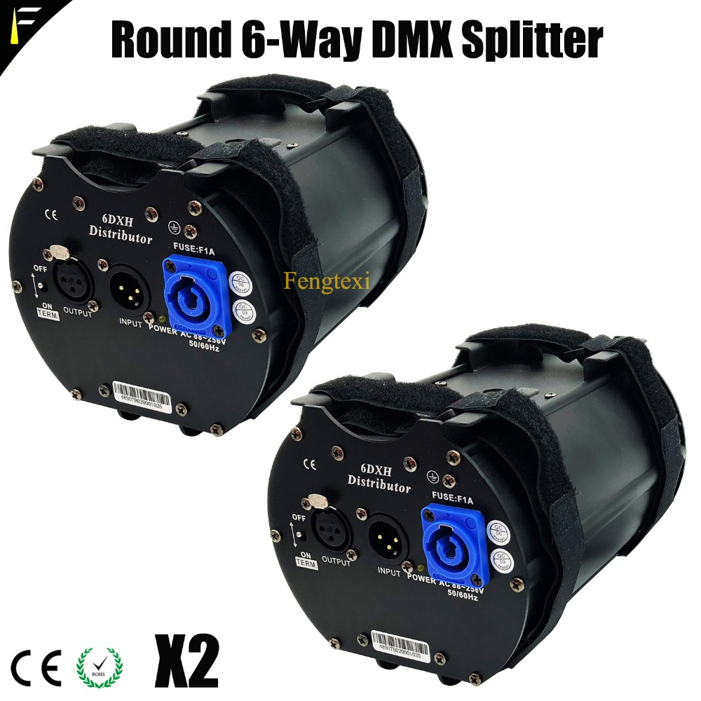 Cylinder DMX512 6 DMX Distributor 6 Channel Signal Amplifier Isolation Module DMX Splitter 6 Channels Separately Power Supply 2pcs lot 8 channel output dmx dmx512 led controller signal amplifier splitter distributor with photoelectric isolation