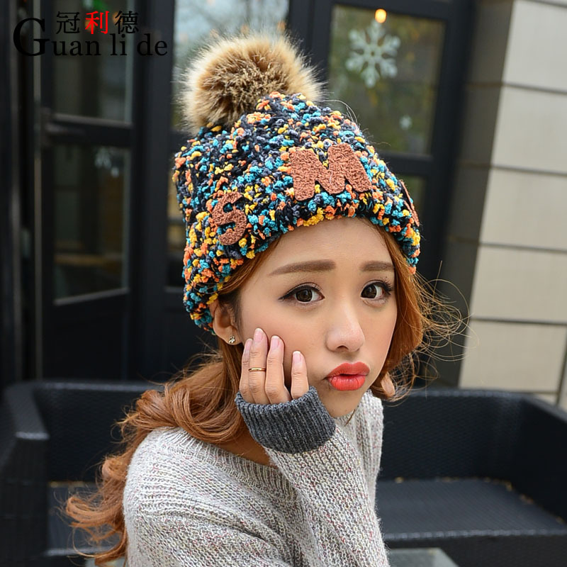 Women's knitted cap winter thickening fashion wool cap fashion hair ball very warm hat thickened hats knitted skullies cap the new winter all match thickened wool hat knitted cap children cap mz081