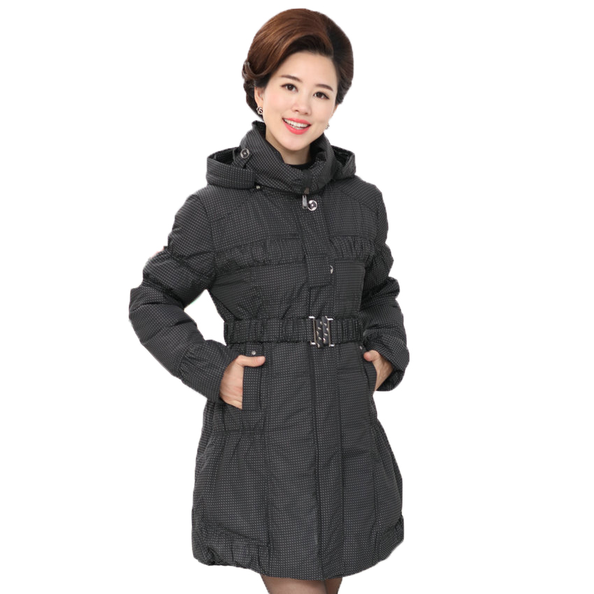 WAEOLSA Winter Woman Hooded Puffer Jackets Mini Dot Polka Pattern Overcoats Middle Aged Womens Puff Quilted