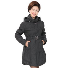 WAEOLSA Winter Woman Hooded Puffer Jackets Mini Dot Polka Pattern Overcoats Middle Aged Womens Puff Quilted Parkas Lady Pad Coat