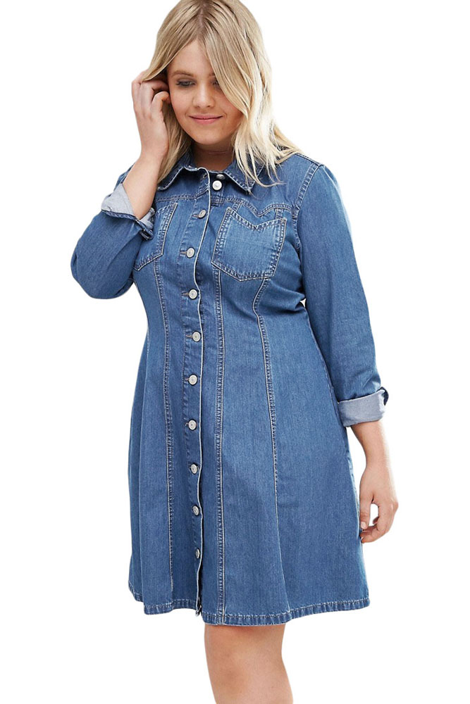 Popular Denim Shirt Dress-Buy Cheap Denim Shirt Dress lots from ...