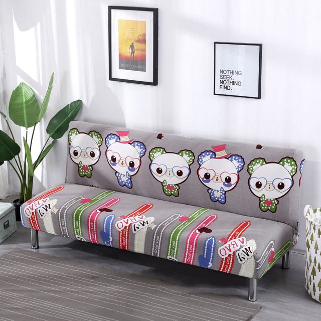 Cartoon Folding Sofa Cover Elastic Slipcovers Sofa Bed Covers Old Leather Sofa  Refurbished