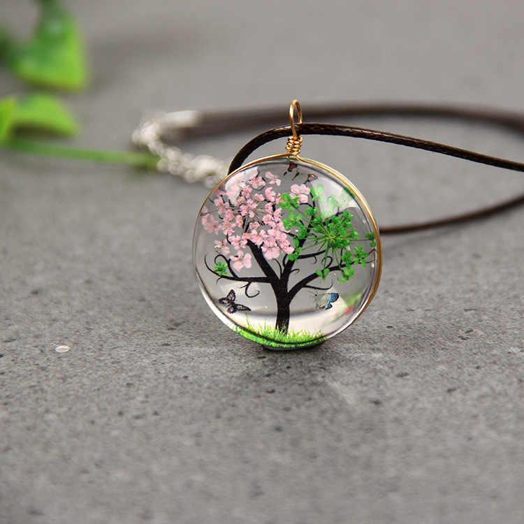 YWHL Fashion romantic life  tree Glass ball pendant necklace,Dried flower plant specimen Handmade DIY child jewelry