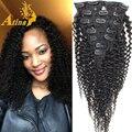 Amercian africano Kinky Rizado Clip En Extensiones de Cabello Humano Primas brasileño de la Virgen Del Pelo Afro Rizado Rizado de la Armadura Rizada rizada Clip Ins
