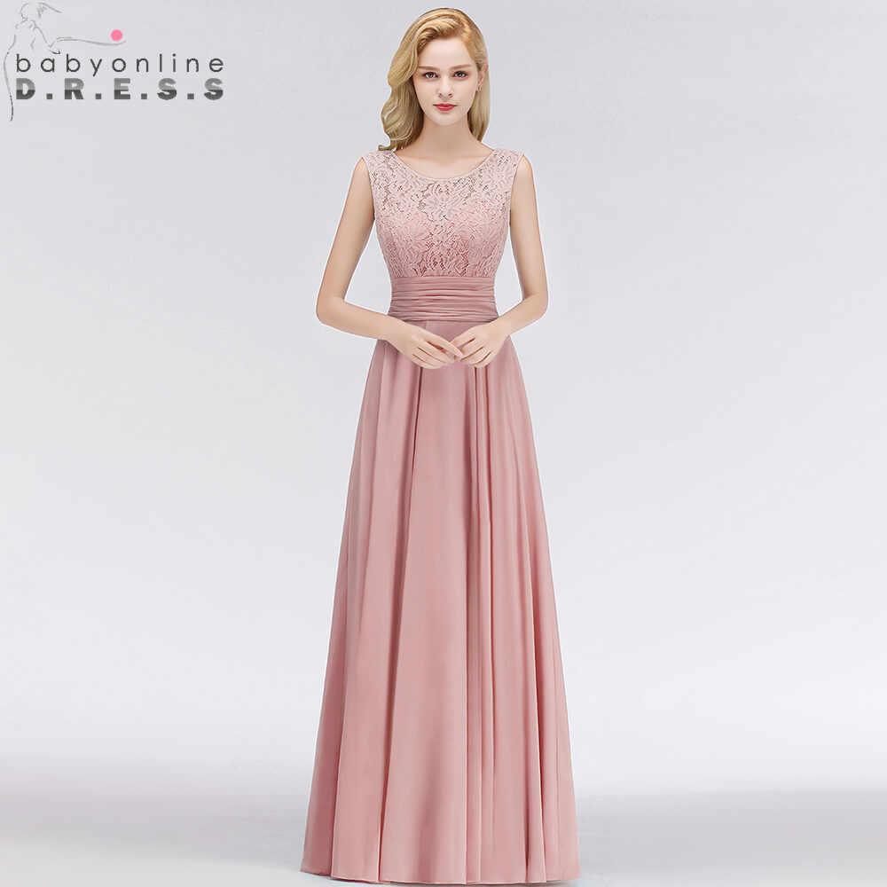 70213815a9d Robe De Soiree Longo Pink Lace Long Chiffon Evening Dress Sexy V Back A  Line Sleeveless