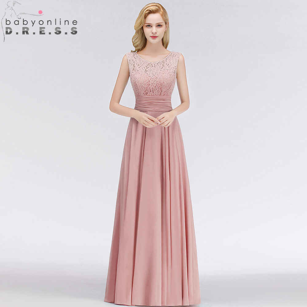 Robe De Soiree Longo Pink Lace Long Chiffon   Evening     Dress   Sexy V Back A Line Sleeveless   Evening   Gown Abendkleider