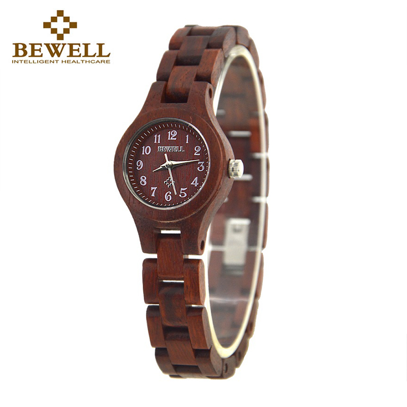 BEWELL 123A 21g Red Slim Armband Wood Watch Kvinnor Luxury Brand Analog Digital Display Japan Movement Quartz Girls Armbandsur