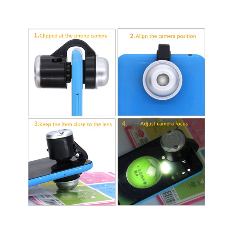 Universal 30X Optical Zoom Mobile Phone Microscope LED Clip Micro Lens Telescope Magnifier in Microscopes from Tools