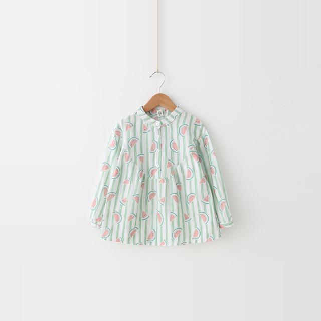 Camisas de ropa 2017 de los niños en la primavera de la nueva completo impreso Camisa de Rayas Bebé sandía Pequeña limpia Camiseta