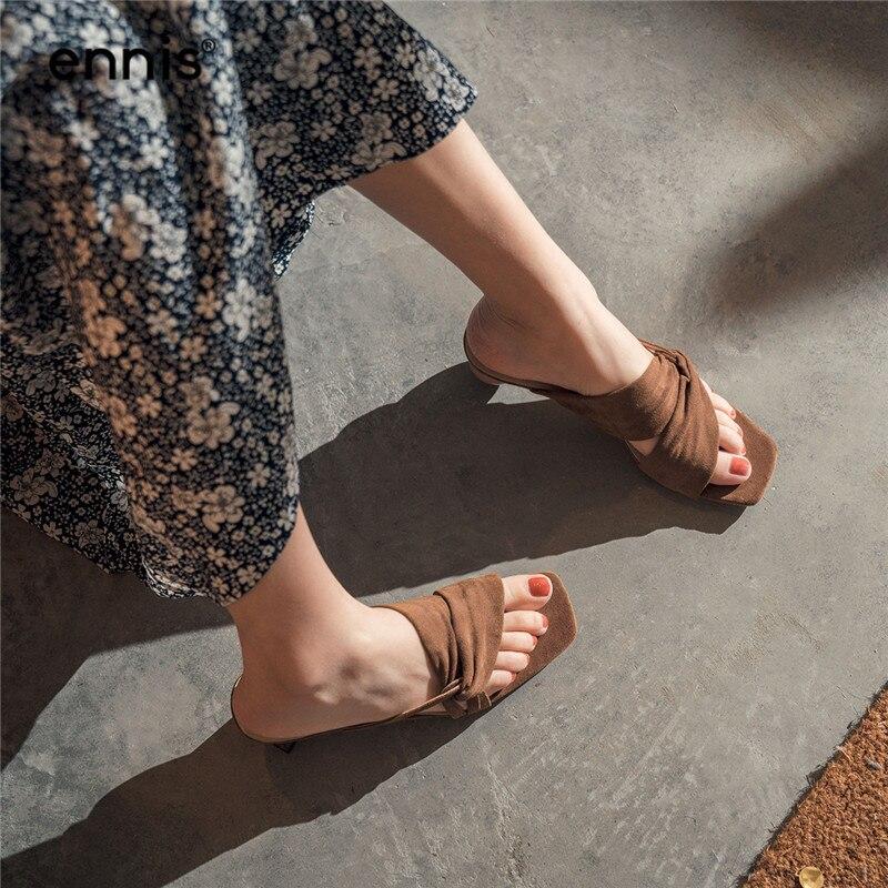 ENNIS 2019 Signore di Estate Pistoni Delle Donne Del Cuoio Genuino Pantofole di Camoscio Gladiatore Sandali di Modo Marrone Albicocca Scarpe Nuovo M944-in Pantofole da Scarpe su  Gruppo 3