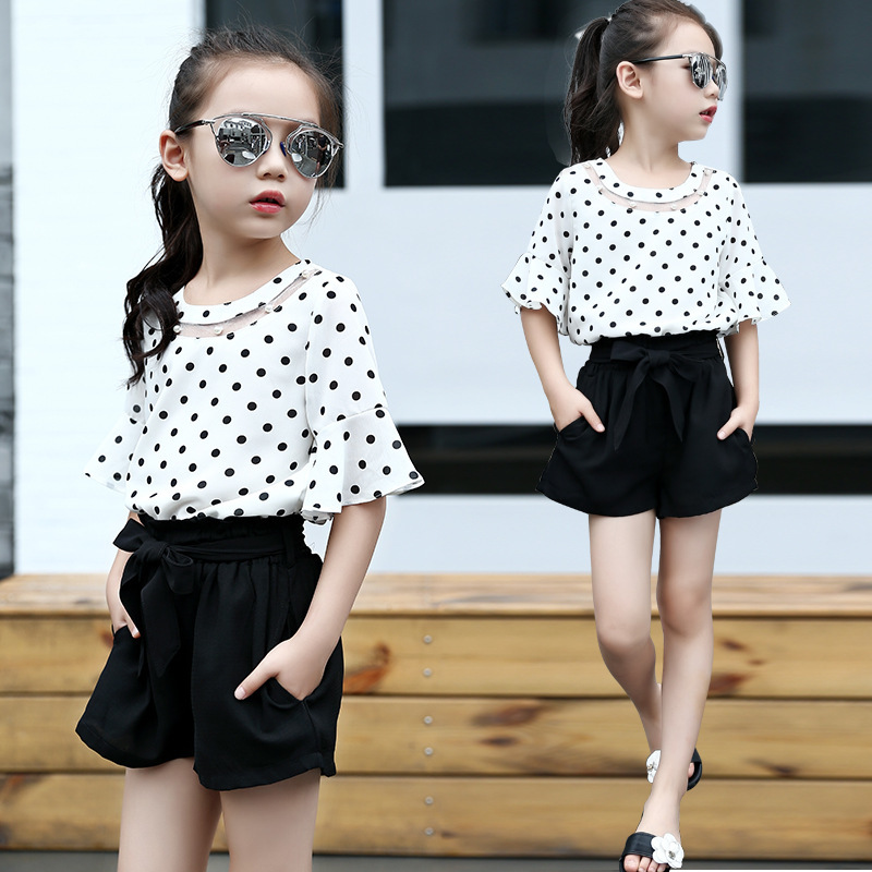 Summer Child Suit Girl Dot Sleeve Chiffon Jacket Children Bow Tight Pants Two Pieces Kids Clothing Sets chiffon shirt summer two sets with pants suit