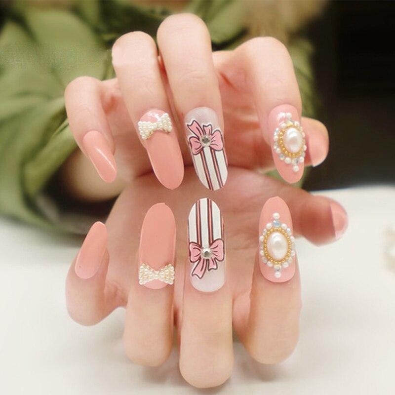 24pcs/set 3D Pearl Decorated False Nail Tips Romantic Fashion ...