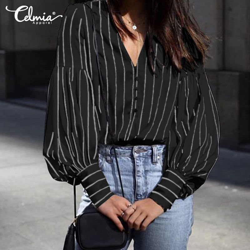OL Elegant Women Long Sleeve Blouse Celmia 2019 Sexy V-neck Striped Shirts Casual Work Tops Buttons Loose Blusas Mujer Plus Size(China)