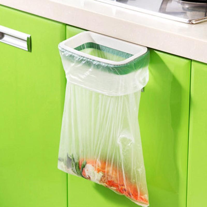 Skap dør Tilbake Trash Rack Oppbevaring Søppelpose Holder Hengende Kjøkkenskap Hengende Trash Rack Kjøkken Verktøy