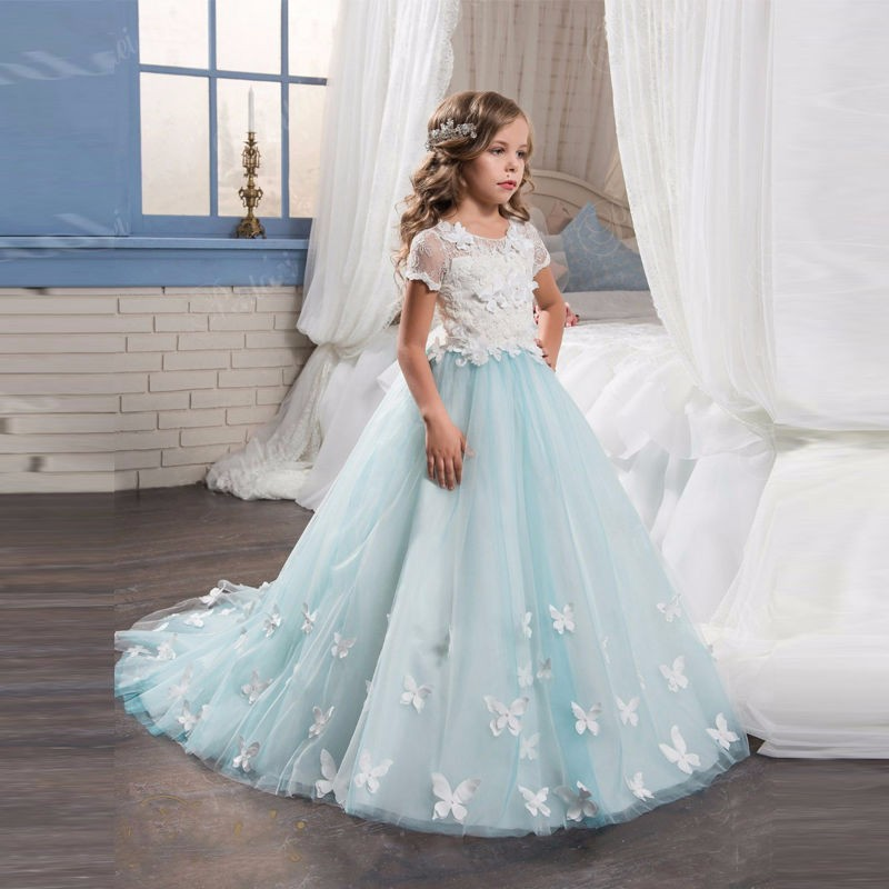 Light Blue Girls Dresses With Butterfly Short Sleeves Mermaid O-Neck First Girls Communion Gown Lace Mother Daughter Dresses blue round neck flared sleeves blouse with random floral print