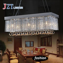 Modern Simple Restaurant droplight k9 crystal lamp fashion Rectangular crystal bar desk chandelier Ceiling lamp led light(China)