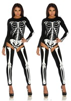 Women's Sexy O Neck Print Skeleton Scary Halloween Jumpsuits Sets, One Size