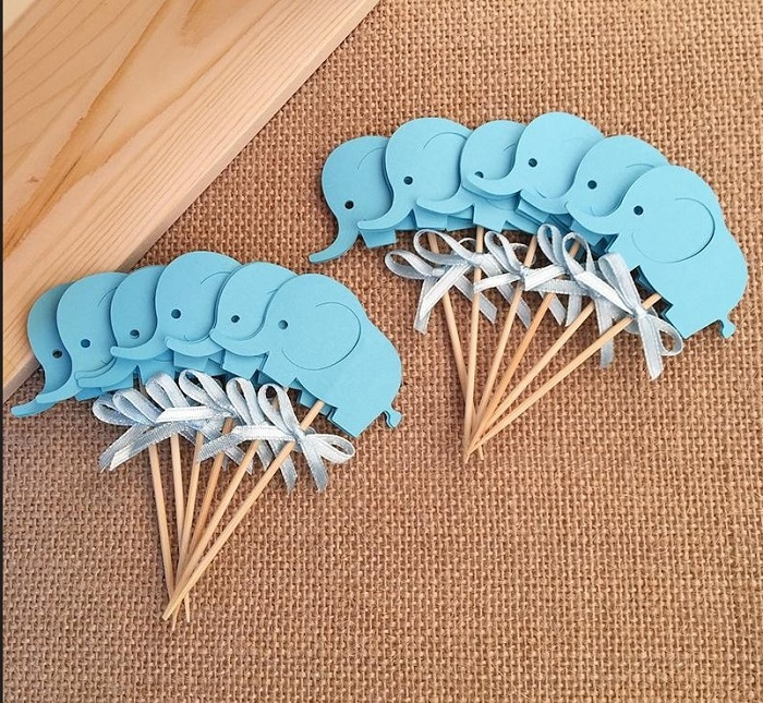 cake toppers blue elephant paper cards banner for Cupcake Wrapper Baking Cup birthday tea party wedding decor baby shower