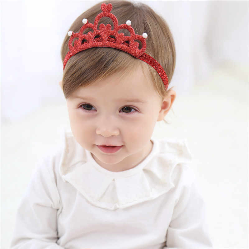 M MISM Cute Children Headband Princes Crown Hair Accessories For Girls Kids Tiara Pearls Rubber Hair Band For Birthday Photo