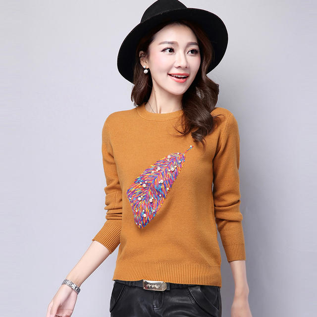 2017 spring autumn pull femme fashion Women Pullover Sweater leaf embroidered beading Knitted Sweaters blouse tops sueter mujer