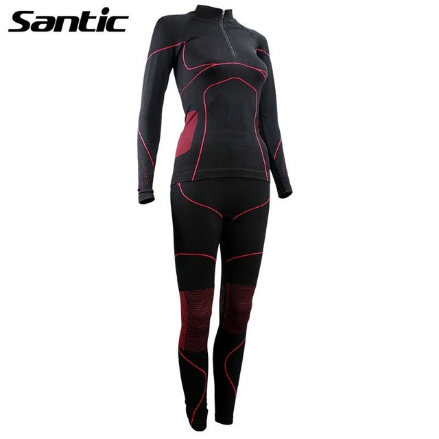 Santic Winter Thermal Underwear Women Sport Cycling Base Layer Elastic Breathable Running Hiking Bicycle Bike Base Layer